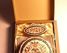 Imari vintage Stratton set boxed vintage Stratton sets vanity sets gift boxed Stratton compacts powder mirrors lipstick mirrors gifts NOS