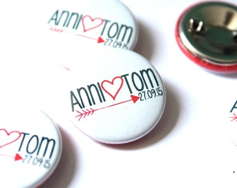 Buttons * wedding * your name (12Stck)