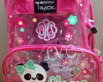 Panda Personalized Clear Backpack