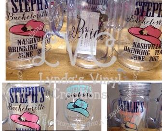 Nashville Bachelorette Mason Jar with Handle Cup//Bridesmaid//Wedding Party