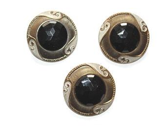 3 x Vintage Glass and Brass Buttons. German Made Buttons. Collectable Button. Celtic Button. Gesetzlich Geschützt Buttons. Vintage Button