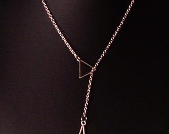 Filigree silver Y chain large and small triangle
