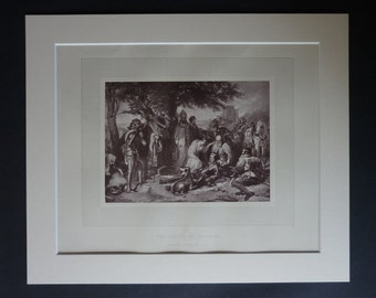 1873 Antique Charles Landseer Print of the Battle of Langside, Available Framed, Scottish Art, Mary Queen of Scots Decor, Historical Gift