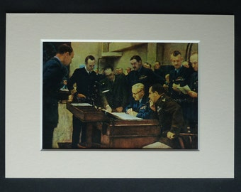 1940s Vintage Military Print of an Operations Room Conference by Herbert Arnould Olivier, Old World War Two Decor, Available Framed, WW2 Art
