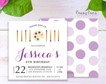 Painter Child's Birthday Invitation - Baby, Toddler, Kid's Little Artist Birthday Party Invite - Paint Party - Digital File