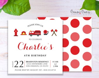 Fire Fighter Child's Birthday Invitation - Baby, Toddler, Kid's Fireman Birthday Party Invite - Fire Truck Party - Digital File