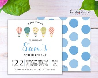 Hot Air Balloons Child's Birthday Invitation - Baby, Toddler, Kid's Flying High Birthday Party Invite - Up in the Sky Party - Digital File