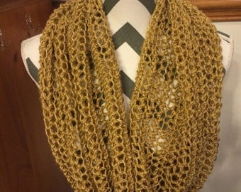 Mustard yellow handknitted infinity/snood scarf