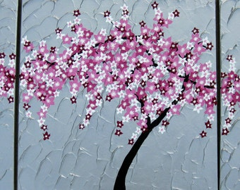 "Cherry Blossom painting,  3 canvases, Custom made painting, 3 canvas cherry blossom painting, 48"" x 24"" , triptych, pink art"