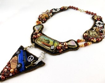 Collier, Necklace, Sixties, bead embroidery, Beadart, America, native