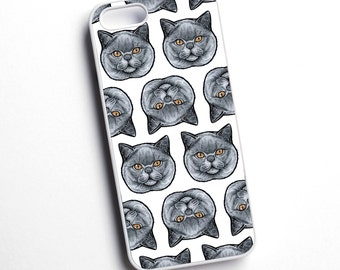 British shorthair, cat breed, illustrated phone case - various models available - for iPhone, Samsung, Sony, HTC