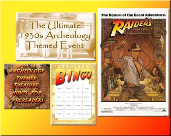4 Indiana Jones Party Downloads - Archaeology Bingo, Treasure Hunts and more - for a great Indiana Jones Party!