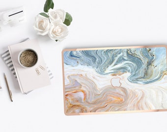 Platinum Edition Brown and Nacre Marble and Rose Gold Detailing Hybrid Hard Case for Apple Mac Air & Mac Pro Retina, Macbook 12""