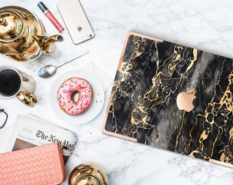 Gold and Black Marble with Rose Gold Accents Hybrid Hard Case for Apple Macbook Air , Mac Pro Retina, New Macbook 12""