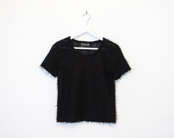 on sale - black fuzzy short sleeve top / sheer furry crop t-shirt / size S