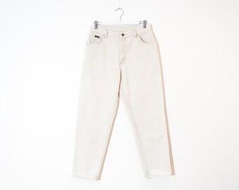 on sale - high waist beige boyfriend jeans / loose tapered leg worn denim / size 27