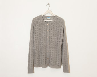 on sale - grey button-up knit cardigan / long sleeve sweater / size L
