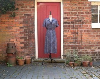 1940s rayon dress / 40s abstract print dress / vintage dress with ribbon trim and diamante buttons
