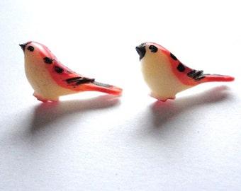 Earring Earstud Bird orange