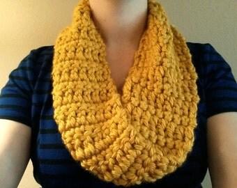Chunky mustard infinity scarf, simple
