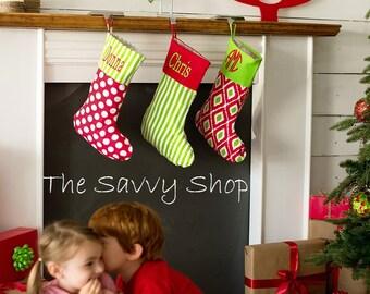 Christmas Stockings - Monogrammed Christmas Stockings - Burlap Christmas Stocking - Monogrammed Stocking