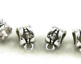 Tibetan Style Antique Silver Plated Euro Bail - Hanger - Tube Bead - Flower Design - 25 Pieces - Jewelry Supplies - Jewelry Findings