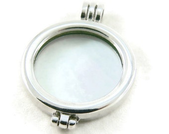 5 Pc. - Silver Plated Photo Frame Locket with Glass Cabochons - Large Locket - Double Sided Pendant - Jewelry Supply - DIY Jewelry