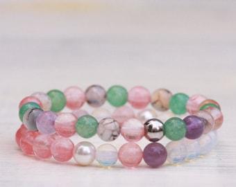 Set of two natural stones bracelets, SPECIAL PRICE,Cherry quartz bracelets,Amethyst, Agate,Stainless steel,Swarovski pearls,Pastel bracelets