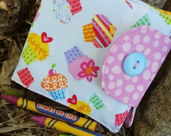Cupcake Crayon Wallet, Girl's  Billfold, Crayon Holder