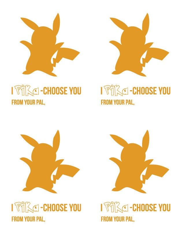 Printable Pokemon VALENTINE'S DAY Card for school / kids