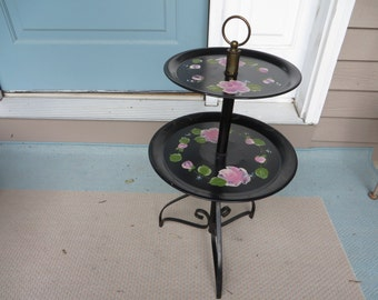 Vintage Two Tiered Table Tole Ware Black Hand Painted 20% Off Moving Sale Code COLORADO1