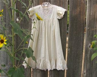 Vintage Toddler Long Dress by Daisy Kingdom, Flower Girl Dress, Victorian Dress, Long Girls Dress Size 4 T, Off White