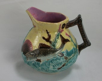 BLOWOUT SALE Shorter and Boulton Majolica Sea Fish Water Pitcher