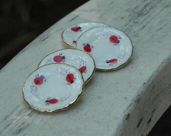 Fairy Garden Plates set of 4 Ladybug fairy accessories for fairy tea party garden party fairy garden accessory dolls and miniatures