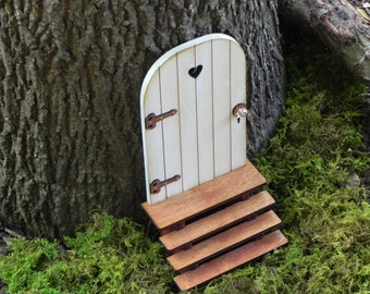 Fairy Door fairy garden miniature accessories hand crafted  wood cloud white with brown hinges handmade stairs