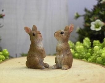 Fairy Garden Bunny Rabbit - accessories - terrarium supplies  miniature animals for diorama - craft supply - fairy garden supply