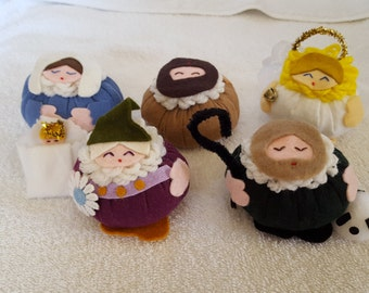 Nativity set in soft poof fabric nativity, creche figures Jesus, Mary, Joseph, shepherd, angel, and king