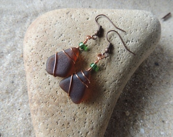 Handmade Natural Surf Tumbled Dark Amber Brown Sea Glass Earrings Wire Wrapped in Copper with Green Glass Bead Accents