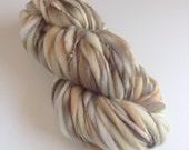 Handspun Thick and Thin Yarn, Merino, 50 yards, Granola
