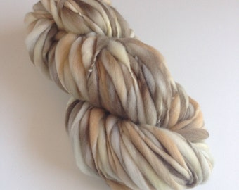 Handspun Thick and Thin Yarn, Merino, 50 yards, Granola