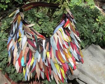 On hold for Joyce 7 Chi Multi colored leather fringe Bag Purse Boho Hippie