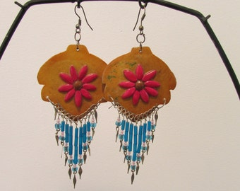 Coconut shell Wood Flower Dangle earrings boho hippie beach party beads