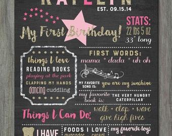 First Birthday Chalkboard Poster, Birthday Milestone Chalkboard, Twinkle Twinkle Little Star Chalkboard Poster, Stars, Glitter, Glam