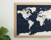 Push Pin Travel Map - Navy Blue World Map - Push Pin Map - Handcrafted Wood Frame 24x36 - Wedding Anniversary Gift
