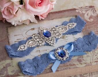 Blue Wedding Garter Set, Blue Lace Garter Set, Lace Wedding Garter, Something Blue, Crystal Garter, Rhinestone Garter, Personalized Garter
