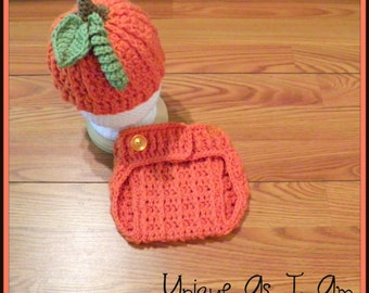 Crocheted Baby Fall Pumpkin Hat and Diaper Cover/Photo Prop