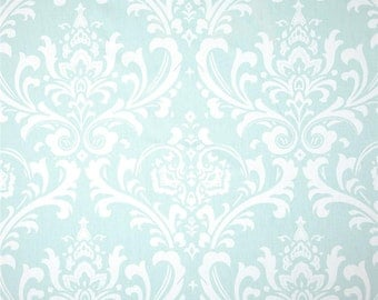 Ozborne Twill Light Green and White - Premier Prints Fabric - White and Light Green Damask Home Decor Fabric