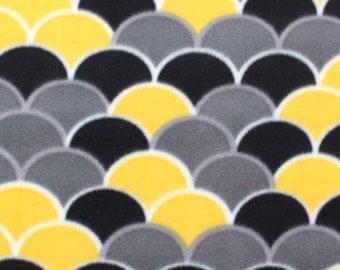 Black, Gray, Yellow and White Polar Fleece - One Yard