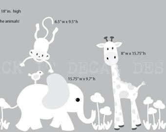 Safari Wall Decal, Nursery Wall Decal, Mini Decal, Giraffe Decal, Jungle Animal wall decal, monkey decal, Soft Grey and White Design