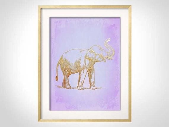 Lavender Elephant Print, Gold Elephant, Elephant Nursery Art, Palm Beach Chic Decor, Modern Safari Nursery for Baby Girl